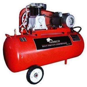 کمپرسور فشرده سازی هوا با ظرفیت 250 لیتر به رنگ قرمز مجهز به چرخ برای جابه جایی راحتر